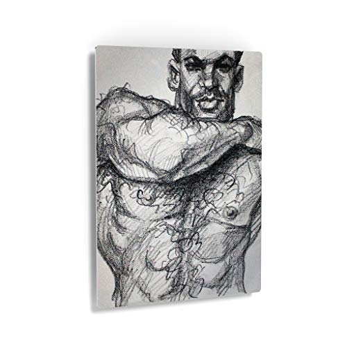 Smile Art Design Hairy Chest Great Arms by Kenney Mencher Metal Print Sexy Man Portrait Lithograph Crayon Painting LGBT Half Nude Gay Art Living Room Decor Bedroom Wall Art - 12x8
