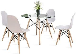 Joolihome - Juego de mesa de comedor redonda y silla, 4 unidades, mesa de café con patas de madera para comedor, sala de estar, cocina blanco