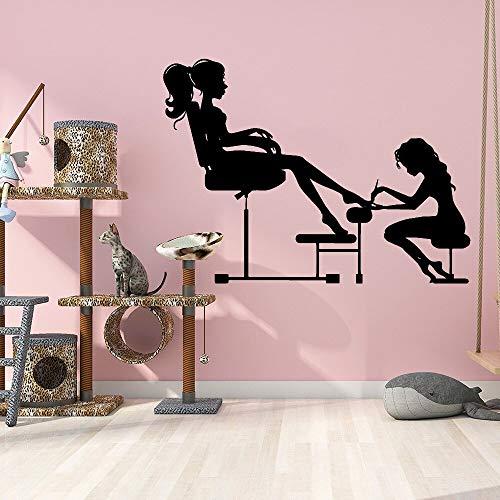 Blrpbc Adhesivos Pared Pegatinas de Pared Salón de Belleza Vinilos Artístico Decoración de Pared Salón de uñas Decoración Mujer Habitación Nuevo diseño Moda 84x60cm
