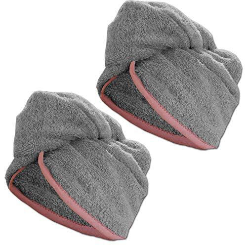 JEMIDI HOMELEVEL 2 Stück Frottee Turban Haarturban mit Gummi für Kinder aus 100% Baumwolle, saugstark, Stabiler Halt 2 x Grau