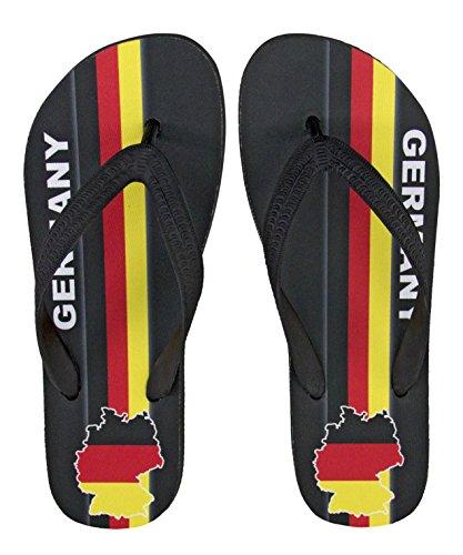 Deutschland Fanartikel   Flip Flop Zehentrenner mit Motiv Germany   Black Edition