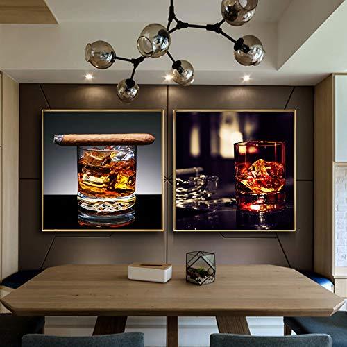 nr Moderne stillleben weinglas und zigarre Poster Kunst leinwand malerei Poster Wohnzimmer dekoration-40x50cmx2 rahmenlose