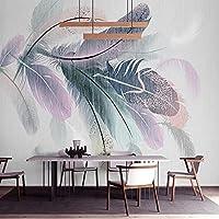 写真の壁紙3D立体空間カスタム大規模な壁紙の壁紙 カラフルな羽の壁の装飾リビングルームの寝室の壁紙の壁の壁画の壁紙テレビのソファの背景家の装飾壁画-400X280cm