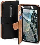 moex Handyhülle für Motorola Moto G3 - Hülle mit Kartenfach, Geldfach & Ständer, Klapphülle, PU Leder Book Hülle & Schutzfolie - Schwarz