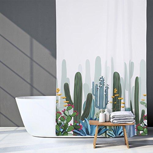 HM&DX Wasserdichter duschvorhang mit Ringe, Antischimmel Polyester Badvorhänge Blumen für Bad Hotel -Weiß 200x200cm(79x79inch)