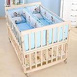 Cuna de madera bebé cama, con Disney Cojín cama bebé recién nacido con desmontable barandilla aumentada cuna al lado de la cama con almacenamiento se puede convertir en cama de juego de escritorio