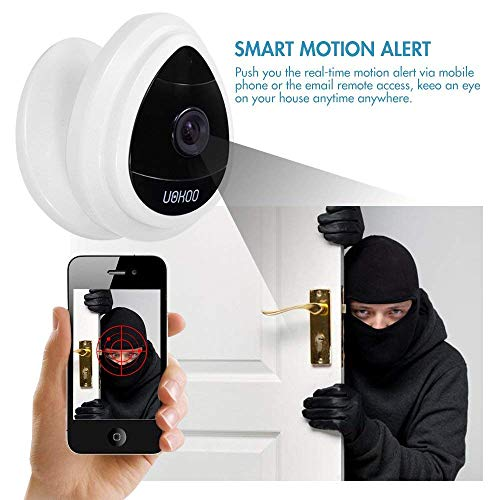 UOKOO Mini IP Camera Security Camera, Wi-Fi Wireless Security Smart IP Camera Surveillance System Remote Monitoring with Motion Alert for Pet Baby Elder Pet Monitor, Nanny Cam, 2019 White