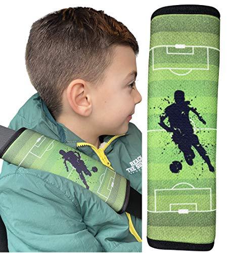 HECKBO 1x Fussball Kinder Auto Sicherheitsgurt - 21 x 6cm - Gurtschoner Kissen Autositz Gurt Fahrradsitz Gurt Gurtpolster für Sitzerhöhung Gurtschutz