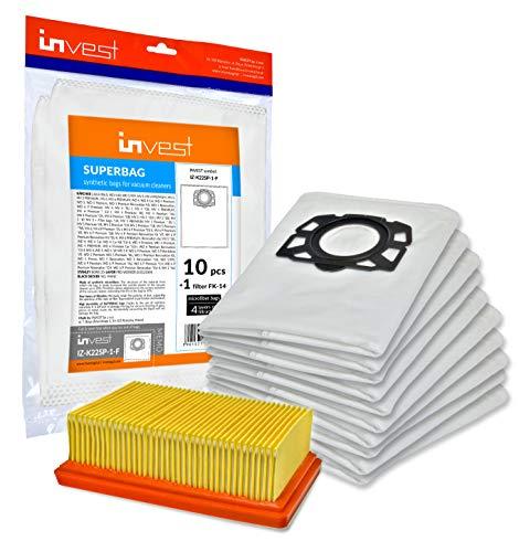 Invest 10 Staubsaugerbeutel + 1 Filter geeignet für Kärcher 2.863-006.0 WD4 WD5 WD6 MV4 MV5 MV6 Staubsaugerbeutel-Typ KA 33 Flachfaltenfilter 2.863-005.0