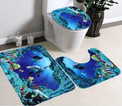 Set di tappetini da bagno antiscivolo in 3D con stampa delfino