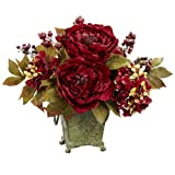 Nearly Natural 4928 Peony and Hydrangea Silk Flower Arrangement, Red