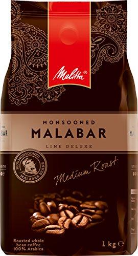 Melitta Ganze Kaffeebohnen, Raritäten-Kaffee, 100% Arabica, vollmundig und intensiv, Stärke 4, Monsooned Malabar Line Deluxe, 1kg