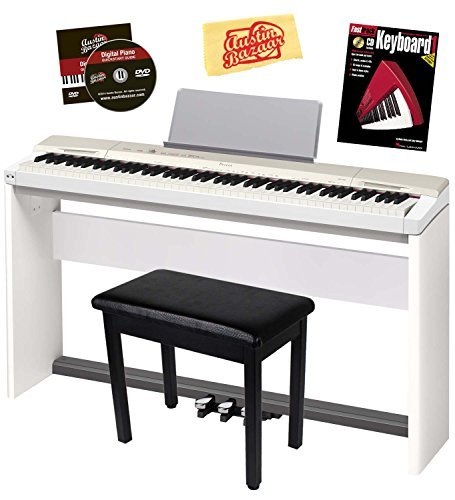 Casio Privia PX-160 Digital Piano - Champagne Gold Bundle with CS-67 Stand, SP-33 Pedal, Furniture Bench, Instructional Book, Austin Bazaar Instructional DVD, and Polishing Cloth
