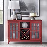 Target Marketing Systems Portland Collection Wine Buffet With Two Cabinets, One Shelf and 4 Bottle Wine Rack, Red