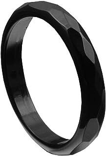 Anillo de ónix negro facetado Onyx Anillo para mujer piedra