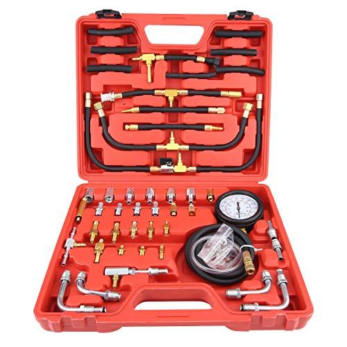 EBTOOLS Kit de medidor de presión de combustible, probador de medidor de presión de combustible de gasolina universal, kit de herramientas de diagnóstico de bomba de inyección