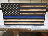 San Tan Woodworks Carved Burnt Thin Blue Line Wood Concealment American Flag. American Concealment Cabinet for The Home (BurntBlue)