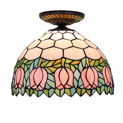 Iluminación de techo de vidrieras 12 pulgadas de techo Luces del estilo de Tiffany manchada Galss tono rosa de cristal tulipán for la sala de estar de la lámpara de techo