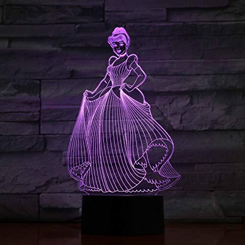 Illusionslicht, 3D Acryl Disney Princess Cinderella Umgebungslicht, Led Gradient Touch 7 Farbnachtlicht