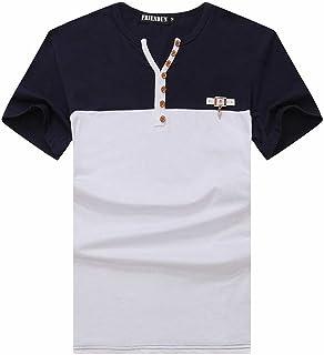 (メイク トゥ ビー) Make 2 Be ヘンリーネック Tシャツ Vネック トリコロール 半袖 KB59
