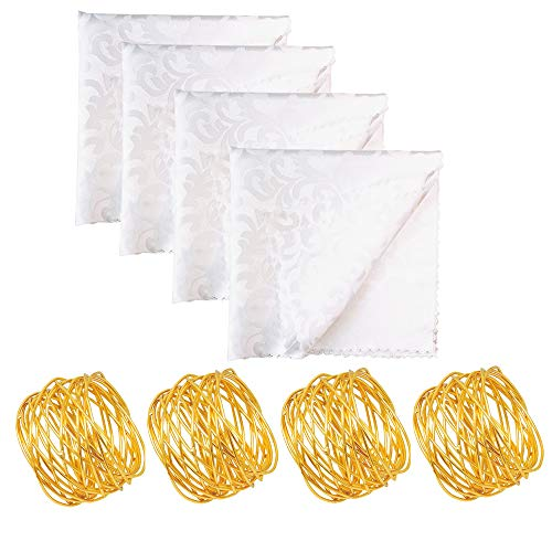 Aisszhao Christmas Table Decorations 4 Napkin Rings & 4 Cloth Napkins,Dining Table Napkin Holders Napkin Cloth Christmas Dining Decoration for Home,Wedding,Hotel,Banquet Parties,Xmas Events
