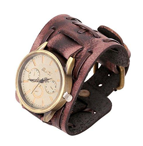 Caiyan Vintage Herren Leder Armband, Uhr , 2
