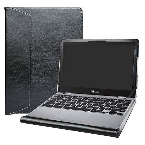 Alapmk Diseñado Especialmente La Funda Protectora de Cuero de PU para 11.6 ASUS Chromebook C204 C204MA Ordenador portátil(Not fit ASUS Chromebook C201PA C223NA C202SA),Negro