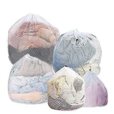 SACALA 5pcs Drawstring Mesh Laundry Bag, Durable Thicken Net Washing Bag with Large Holes for Washing Machines Travel