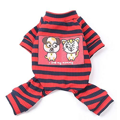 Urijk Haustier Pyjamas Hund Katze Baumwolle Streifen Schlafanzüge Pyjama Cozy Soft Jumpsuits XS bis XXL Jacken für Kleine und Mittelgroße Hunde