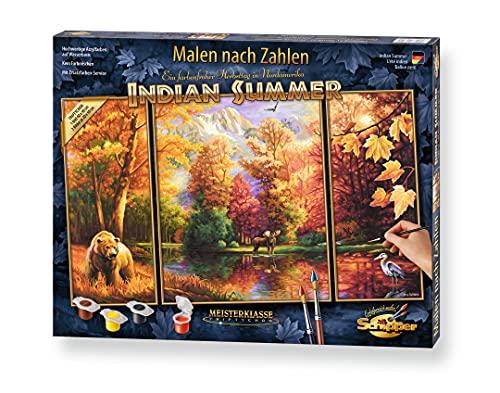 Schipper 609260650 Malen nach Zahlen, Indian Summer - Bilder malen für Erwachsene, inklusive Pinsel und Acrylfarben, Triptychon, 50 x 80 cm