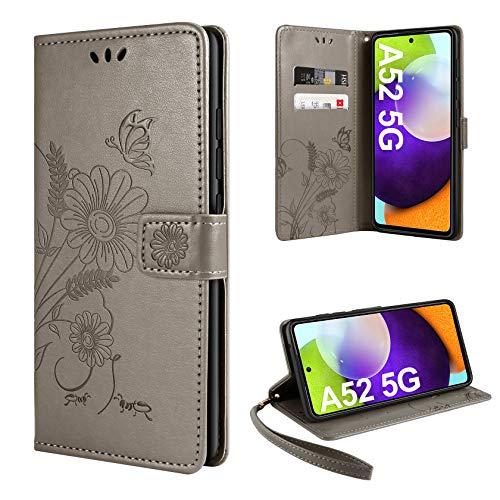 ivencase Handyhülle Kompatibel mit Samsung Galaxy A52 4G/5G/A52s 5G Hülle Flip Lederhülle, Handyhülle Book Hülle PU Leder Tasche Hülle & Magnet Kartenfach Schutzhülle - Grau