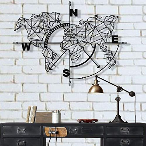 Weltkarte aus Metall, Kompass, Wanddekoration, aus Metall, mit Metallzeichen, Weltkarte, Wanddekoration aus Metall, Metall, Schwarz , 117x91 cm