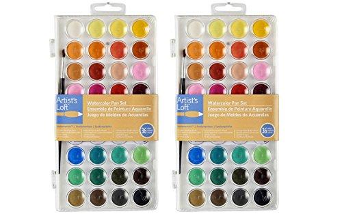 Artists Loft ZdbnZ Fundamentals Watercolor Pan Set, 36 Colors (2 Pack)