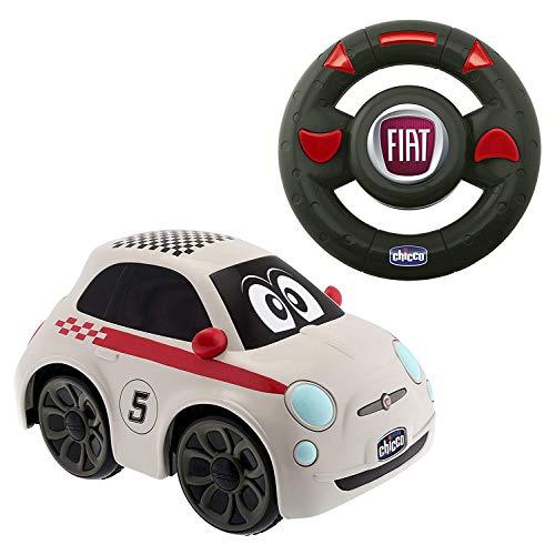 Chicco Fiat 500 Sport Macchina Telecomandata per Bambini, Auto Telecomandata con Volante Radiocomando Intuitivo, Macchina Radiocomandata con Suono del Clacson, Bianca - Giochi per Bambini 2-6 Anni