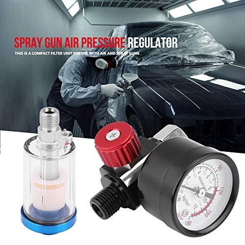 Regulador de presión de aire de la pistola de pulverización neumática, calibrador del regulador de aire de la pistola de pulverización Kit de separador de filtro de trampa de agua de aceite en línea