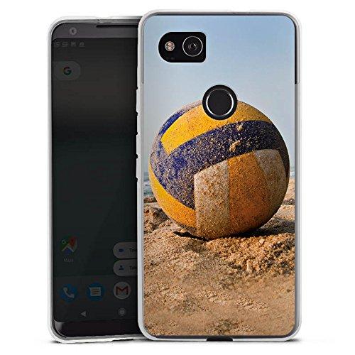 DeinDesign Silikon Hülle kompatibel mit Google Pixel 2 XL Case transparent Handyhülle Volleyball Sand Hobby