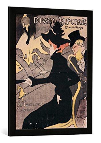 Gerahmtes Bild von Henri de Toulouse-Lautrec Plakat Divan Japonais, 75 Rue des Martyres, Kunstdruck im hochwertigen handgefertigten Bilder-Rahmen, 50x70 cm, Schwarz matt