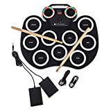 Fineway Rechargeable 9 Drum Pad Portable Roll Up Drum Pad Kits With Multi Coloured LED Disco Lights Foldable Musical Instrument With Foot Pedals 2 Drum Stick Included – Kids Beginners Children Xmas