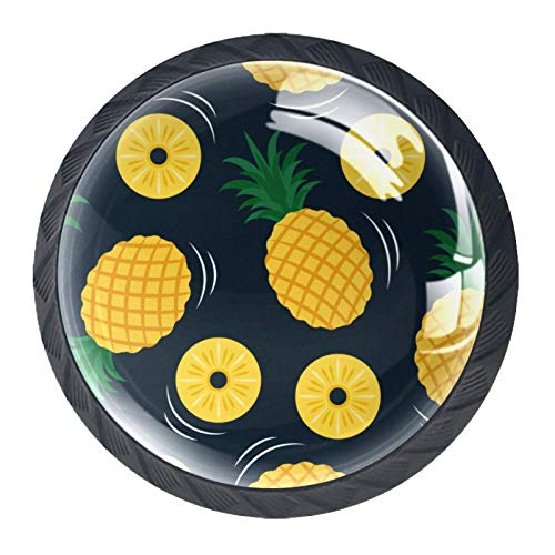 Perillas de cajón con diseño de frutas tropicales amarillas de frutas tropicales y amarillas de cristal para cajones y aparadores