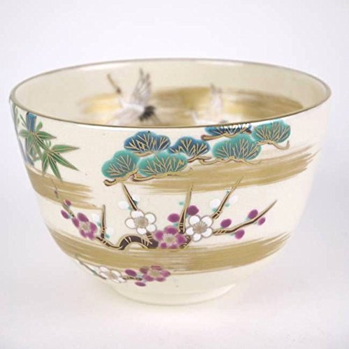 "Great Features Of Hitokiyo crane Shochikubai tea bowl""@ŽR"