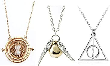 Friendship Jewelry Set Inspired 3 Piece Necklace Set Time turner necklace Deathly Hallow Necklace for Girls Kids Decoration Toy
