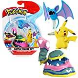PoKéMoN Selección Battle Figures | Conjunto de 3 Juego de Figuras de Acción, Figuras del Juego:Alolan Muk. Pikachu & Zubat