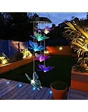 Mosteck Wind Chimes Outdoor, Solar Butterfly Wind Chimes Color Changing LED Mobile Wind Chime Make a Best Birthday Gift for Mom Grandma, Hanging Decorative Patio Lights for Yard