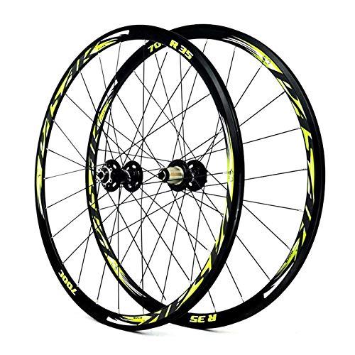 WYN Bike Bike Wheelset 700C Aleación de Bicicleta RIZ 30mm Rodamiento Sellado Disc/V Rueda de Freno for 8 9 10 10 11 Cassette de Velocidad Flywheel QR Super Light 1700G (Color : Agreen)