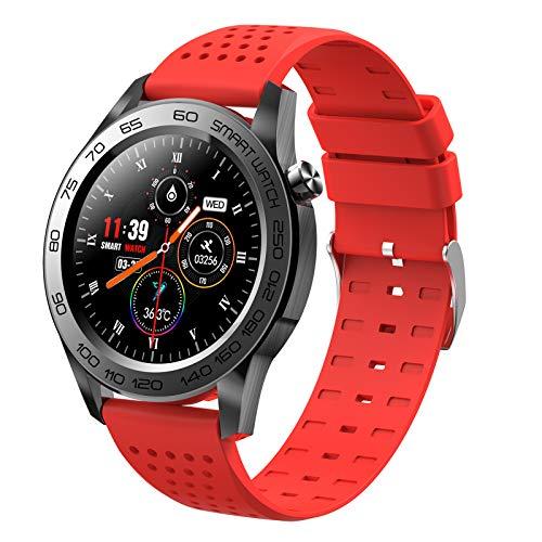 HQPCAHL Smartwatch Reloj para Android iOS con Monitor De Temperatura Frecuencia Cardíaca Presión Arterial Spo2 Sueño, Monitores De Actividad con 7 Deportes, Pulsera Actividad Inteligente,Rojo