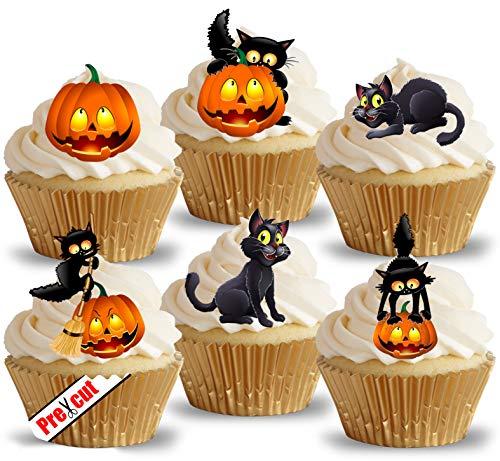 Vorgeschnittene Katze und Kürbis -Törtchenaufstecker aus essbarem Reispapier/Waffel für Halloween- oder Geburtstagspartys.