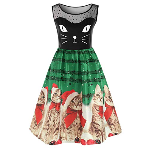 SoeHir Women Fashion Sleeveless Christmas Cats Musical Notes Print Vintage Flare Dress