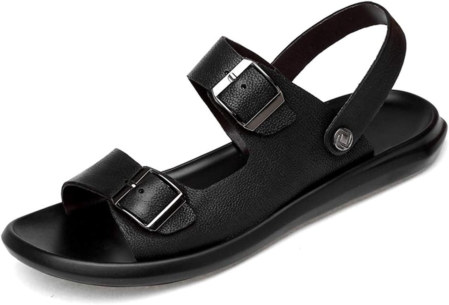 Cvbndfe Men's Flat Sandal Soft Leather Sandals Anti-slip Flat Waterproof Quick-drying Round Open Toe Buckle Lightweight Summer Beach shoes Stable&Safe (color   Black, Size   8.5 UK)