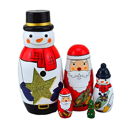 Aliyaduo 5 Pcs Wooden Russian Nesting Stacking Dolls Santa Claus Russian Matryoshka Dolls for Kids Christmas Birthday Toy Gift