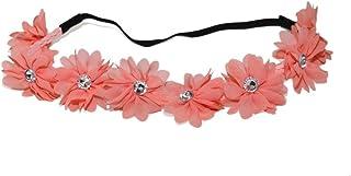 Lux Accessories Red Peach Rosy Fabric Flower Floral Clear Rhinestone Stretch Headband Floral Head B